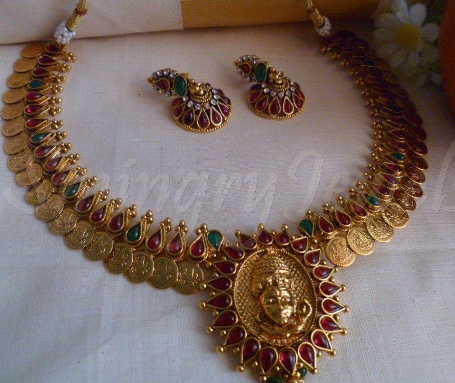 Traditional antique kasu mala set designs necklace in temple ...